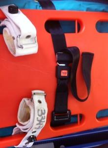Modo en el que deben pasarse las cintas de la camilla a través del tablero espinal para que no se desplace cuando la ambulancia esté en movimiento.